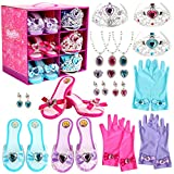 Girls Princess Toddler Dress Up Shoes Set Pretend Jewelry Toys Accessories Set Princess Role Play Collection Kit with Tiaras Crown Gloves Necklaces Earrings Gift for Birthday Halloween Christmas Costumes Party for 3,4,5,6 Years Old Girls and up