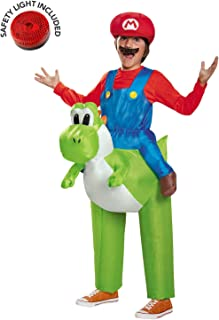 Super Mario Ride a Yoshi Inflatable Kids Costume with Safety Light