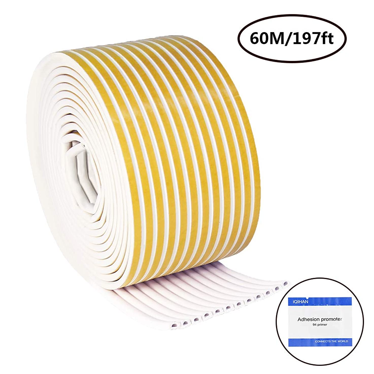 Benavvy 197Feet/60m D Type EPDM Weather Stripping Self Adhesive Foam for Doors and Windows, Soundproof, Dustproof Door Gap Seal Blocker, 7/20-Inch x 6/25-Inch x 16.4-Feet (D Style)