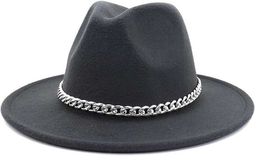 HXGAZXJQ 2020 Wide Brim Fedora Hat Cotton Men's Ladies Metal Decorative Autumn Winter Panama Wool Felt Hat (Color : Dark Gray, Size : 59-60cm)