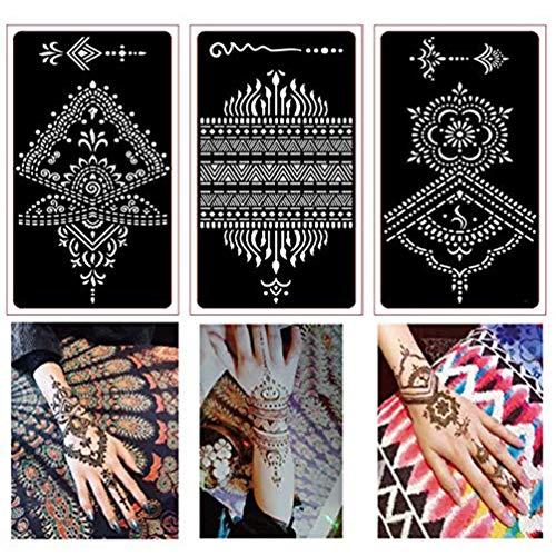 Xmasir 30 Blatt Henna Tattoo Schablonen Kit, Mehndi Indian Blume Temporary Tattoos Schablone Tätowierung Designs für Frau Mädchen Körperkunst-Malerei