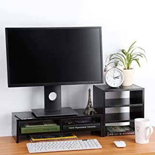 Computer Monitor Stand, 3-Layer Shelf Laptop Monitor Riser Stand Desktop Wooden Storage Organizer for Home Office(Black Wa...