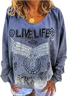 Womens Casual Crewneck Print Pullover Long Sleeve Loose Blouse Shirt O-Neck Sweatshirt