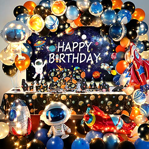 Outer Space Theme Party Supply(Serves 12)and Birthday Decoration Balloons Arch Garland Kit Set for Kids Best Gift Box for Space Fans Total 247 Pack