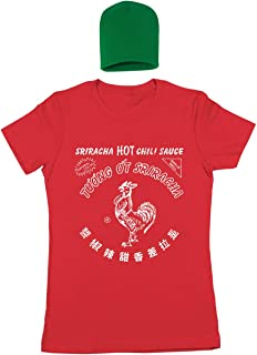 Sriracha Hot Chili Sauce Bottle Costume Outfit with Hat Womens Shirt