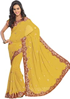 Women's Bollywood Sequin Embroidered Sari Festival Saree Unstitched Blouse Piece Costume Boho Party Wear