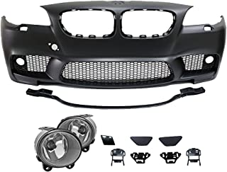 Front Bumper With Fog Lights And Covers Compatible With 2011-2016 BMW 5-Series F10 | 4Dr M5 Style Front Bumper Fog Conversion PP Polypropylene by IKON MOTORSPORTS | 2012 2013 2014 2015