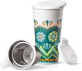 LIFVER Taza de té con Infusor, 530ML Taza de Viaje de Cerámica Grande para Viajes/Uso Doméstico con Dos Tapas y Colador de té Extraíble, Verde