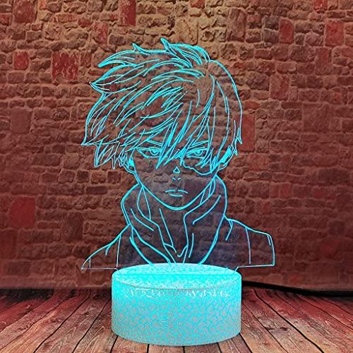 Luz de noche universal interior Mi héroe Academia Shooteo Todoroki Cara Diseño 3D Ilusión Noche Luz de noche LED MHA Decoración de escritorio de lámpara de anime