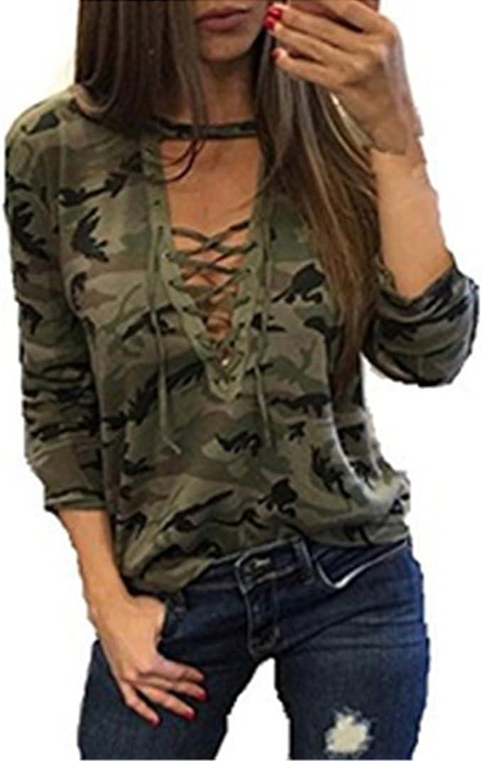Mujer Camisetas Manga Larga Originales Basicas Camuflaje Tops Elegantes Moda Fiesta V Cuello Primavera Otoño Militares Tallas Grandes Blusas con ...