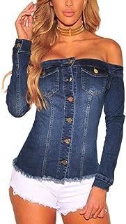 Women's Tops, Button Front Tie up Long Sleeve Off Shoulder Denim Mini Bardot Blouse Shirt