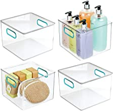 mDesign Plastic Storage Bin with Handles for Organizing Hand Soaps, Body Wash, Shampoos, Lotion, Conditioners, Hand Towels...