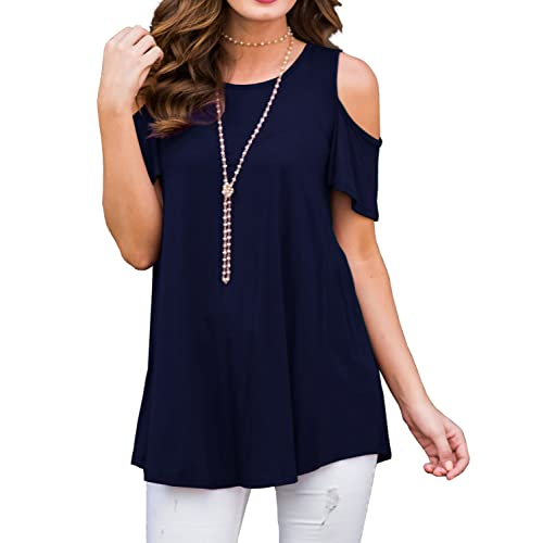 60f60edbb0e11e PrinStory Women s Short Sleeve Casual Cold Shoulder Tunic Tops Loose Blouse  Shirts
