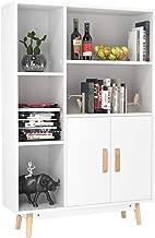 Homfa Estantería de Pared Librería del salón para Libros Juguetes CDs 2 Puertas 5 compartimientos Blanco 80 x 23.5 x 119cm
