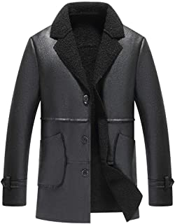 wuliLINL Men's Fur Faux Leather Jacket Motorcycle Bomber Shearling Stand Collar Warm Coat