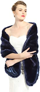 BEAUTELICATE Women's Faux Fur Shawl Stoles Wrap for Bridal/Wedding/Party
