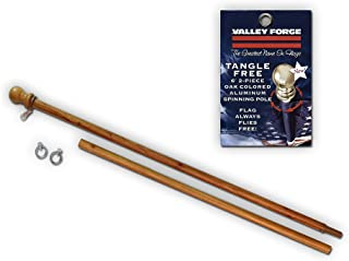 Valley Forge, American Flag Pole, Aluminum Oak-Colored, 6', 2-Piece for Grommeted Flag