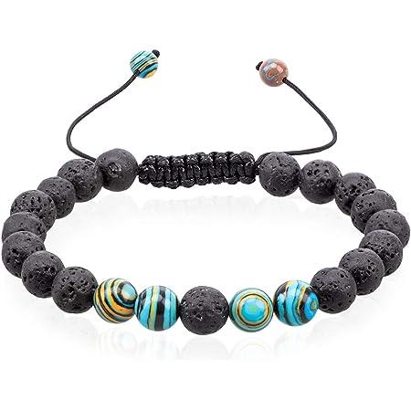 Amazonite Bracelet~Lava Bracelet~Glass Flower Charm~Yoga Bracelet~Aromatherapy Bracelet~2019 Spring Trend~Stretch Bracelet~Anxiety Bracelet