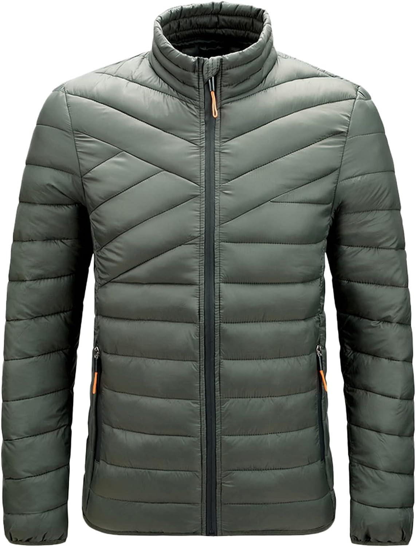Men's Autumn and Winter Leisure Plus Size Light Zip Pocket Cotton-Padded Jacket Coat Top Blouse