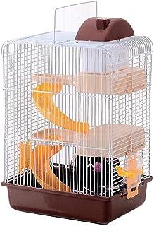 Wetanly ハムスターケージ 小動物ケージ 3階 ハムスターハウス 食器 給水ボトル 回し車付き ハムスター用 ペット用品 サイズ约:26.5x19.5x41cm (ブラウン)