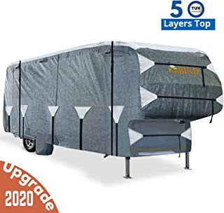 KING BIRD Extra-Thick 5-Ply Top Panel & 4Pcs Tire Covers Deluxe 5th Wheel RV Cover, Fits 26'-29' RV Cover -Breathable Water-Repellent Rip-Stop Anti-UV with Storage Bag (26`-29`New)
