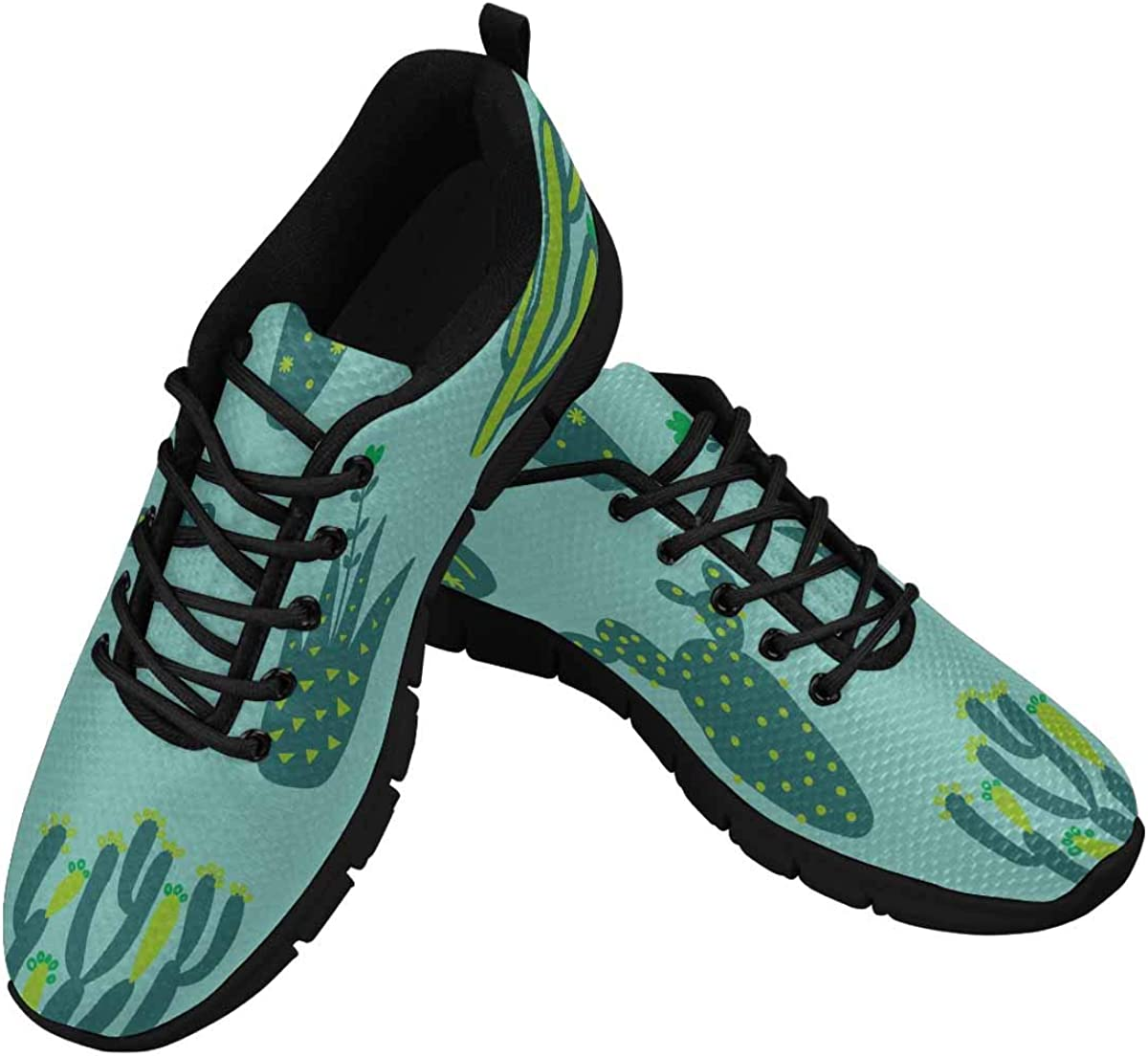 InterestPrint Cartoon Cactuses Pattern Women's Lace Up Running Comfort Sports Sneakers