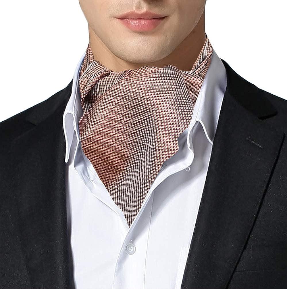 Remo Sartori Made in Italy Men's Houndstooth Pattern Self Cravat Ascot Tie, Silk
