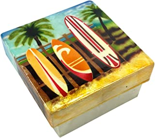 Kubla Craft Surfboards Capiz Shell Keepsake Box, 3 Inches Square