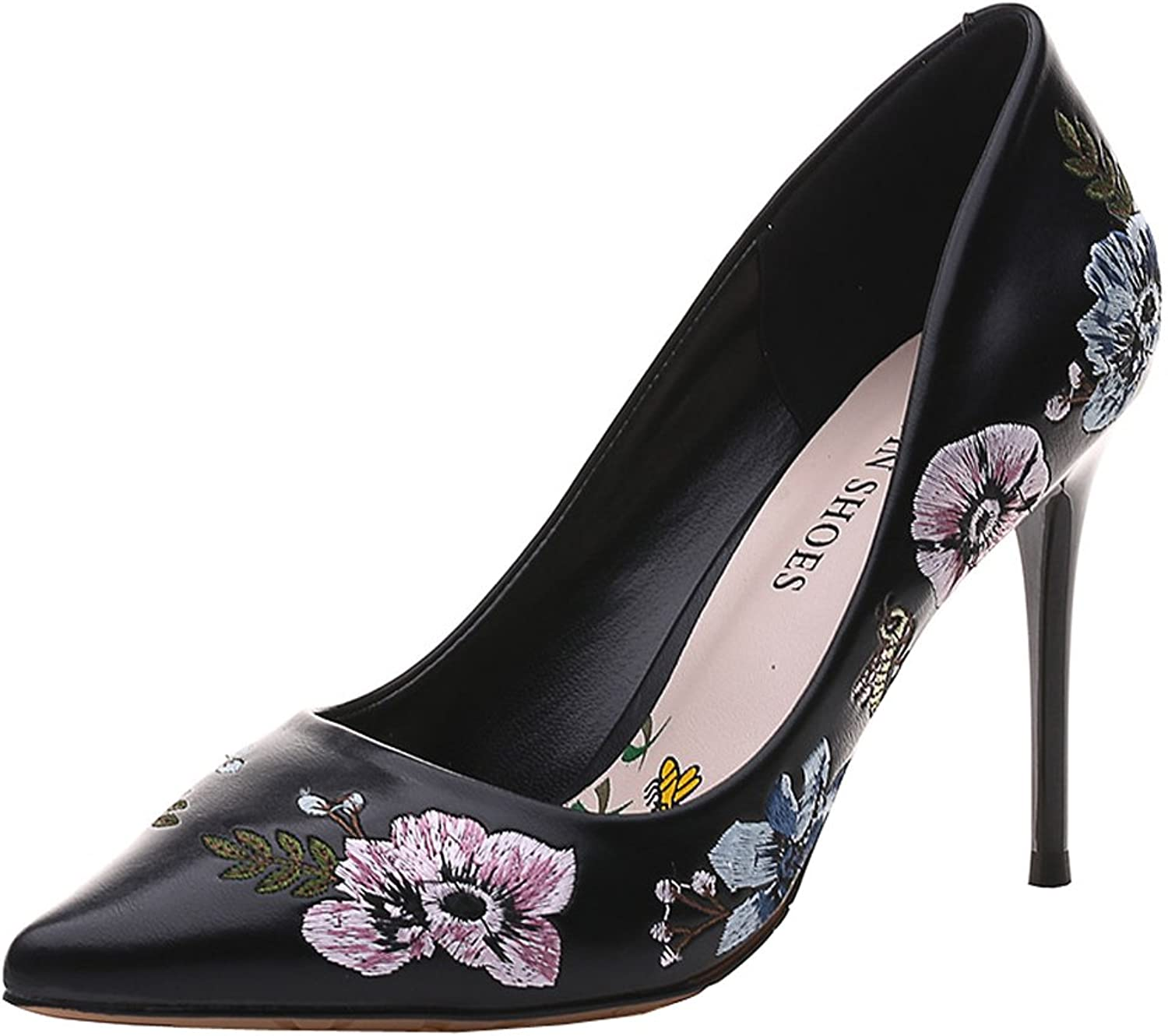 C & C Women's PU Embroidered Heel shoes Pump shoes