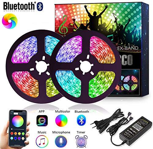 10M Bluetooth LED Streifen Musical 5050 RGB, LED Strip 300 LED Lichtband, Musikalische Funktion, Persönlicher Zeitplan, APP-Steuerung , 5050 Lampenperlen12V, Wasserdicht IP65