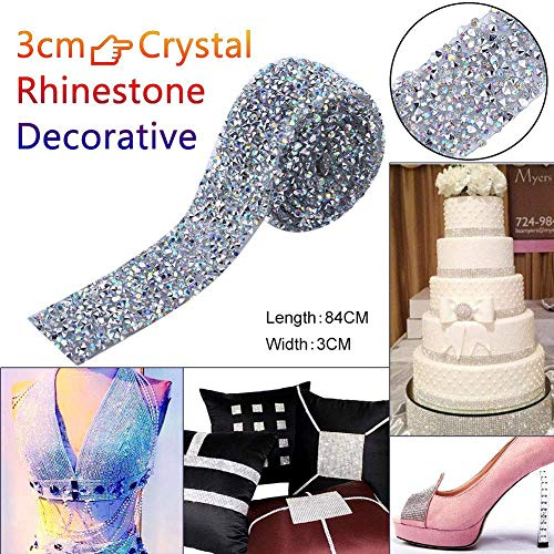 AUNMAS 1 Yard Crystal Strass Ribbon Spaarkling Back Lijm decoratieve band riem Bling Ribbon Roll bruiloft bruidsjurk verfraaiing