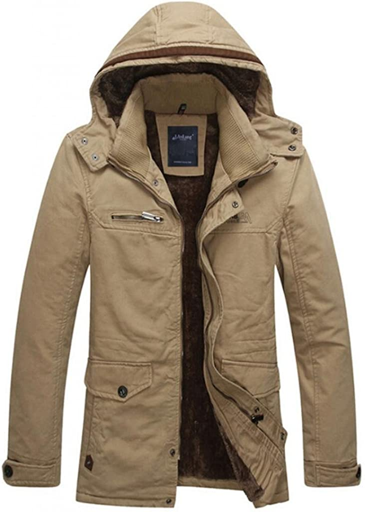 LanAng Men's Cotton Parka Fitted Down Outwear With Removable Hood