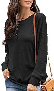 Miracle Womens Long Sleeve V Neck Henley Shirts Ribbed Button Down Basic T-Shirt Tee Tee