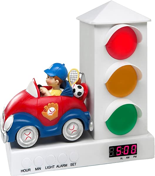 Stoplight Sleep Enhancing Alarm Clock For Kids Red And Blue Sports Car