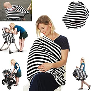 Premium 4 in 1 - Stretchy Car Seat Cover, Baby Carseat Canopy,Privacy Nursing Cover / Infinity Nursing Scarf, Shopping Cart Grocery Trolley Cover,High Chair Cover,Unisex Classic Design, Perfect Gift!:Isfreetorrent