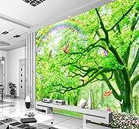 Wkxzz 壁の背景装飾画 カスタム壁紙森林蝶世界壁画装飾背景自然風景リビングルーム壁紙-200X140Cm