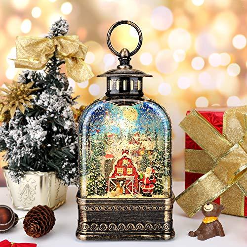 Heasylife Schneekugel Laterne mit Musik und Timer, Weihnachtsmann Schneekugel Wasser Glitzernde singende beleuchtete Laternenlampe für Weihnachten Home Decor