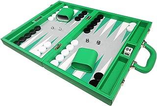 16-inch Premium Backgammon Set - Medium Size - Green Board