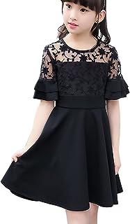27e3373c46b6a JDLXMD 子供服ドレス女の子 ワンピース ガールズ フォーマル ドレス ブラック キッズ エレガント 韓国プリンセスドレス通園