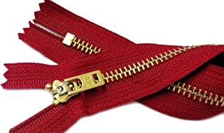 ZipperStop Wholesale Authorized Distributor YKK Two 7 Inch Brass Jeans Zipper YKK Number 5 Gold Colored Metal Teeth Zips with Locking Slider Closed Bottom Color Hot Red #519