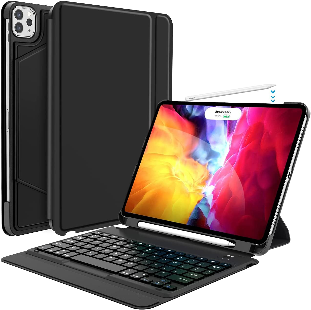 iPad Pro 11 Inch 2021 Case with Keyboard, Keyboard for iPad Pro 11-inch (3rd Generation, 2nd/1st Gen) - Wireless Detachable - with Pencil Holder - Flip Stand Cover - iPad Pro 11 Keyboard, One Piece-BK