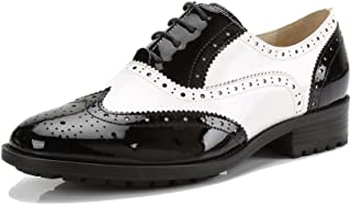 U-lite Women`s Perforated Lace-up Wingtip Close Front Leather Flat Oxfords Vintage Oxford Shoes