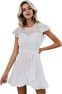 Simplee Women's Floral Lace Ruffle A Line Cap Sleeve Wedding Mini Dress with Lining Belted