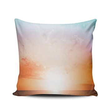 CENYUO Home Decoration Pillowcase Cushion Cover Scenery Twilight Color Sunset Throw Pillow Case Chic Design Double Sided Printed Square Size 16 x 16 Inch