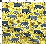 Tiere, Nashorn, Afrika, Gelb, Wild Stoffe - Individuell