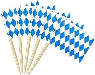 Alpurple 200 Packs Oktoberfest Picks Party Accessory-2.5 x 1.3 Inch Bavarian Flag Cupcake Toppers Picks Toothpick Flags fo...