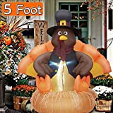 Twinkle Star 5 FT Inflatable Lighted Turkey Happy Thanksgiving Yard Decor Display Autumn Fall Outdoor Decoration