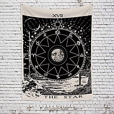 OFila Tarot Tapestry The Star Black and White Old Tarot Card Mysterious Medieval Europe Divination Witch Astrology Wall Hanging Tapestry for Home Bedroom Living Room Dorm Decor 39.4x59.1 Inch