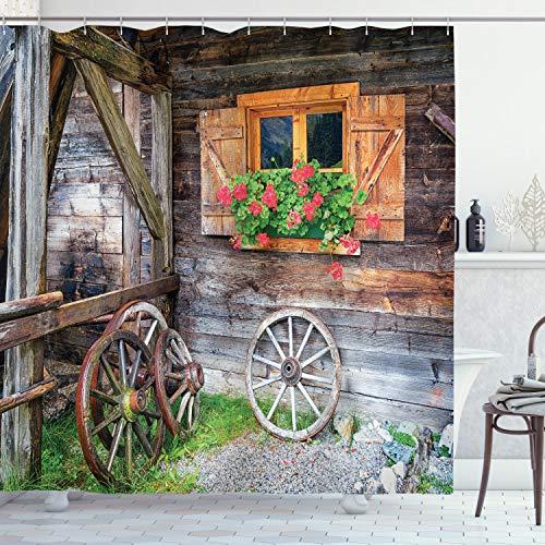 ABAKUHAUS Rustikal Duschvorhang, Urlaub auf dem Bauernhof Land, Wasser Blickdicht inkl.12 Ringe Langhaltig Bakterie & Schimmel Resistent, 175 x 180 cm, Magenta Braun