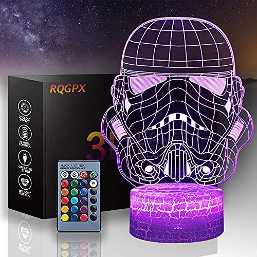 Luz de noche 3D para niños Darth Vader una lámpara de ilusión de juguete de 16 colores que cambia la lámpara de decoración – Regalo perfecto para niños y decoración de habitación